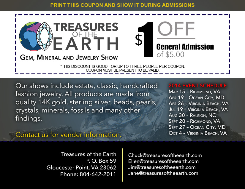 Treasures of the Eearth Discount Coupon